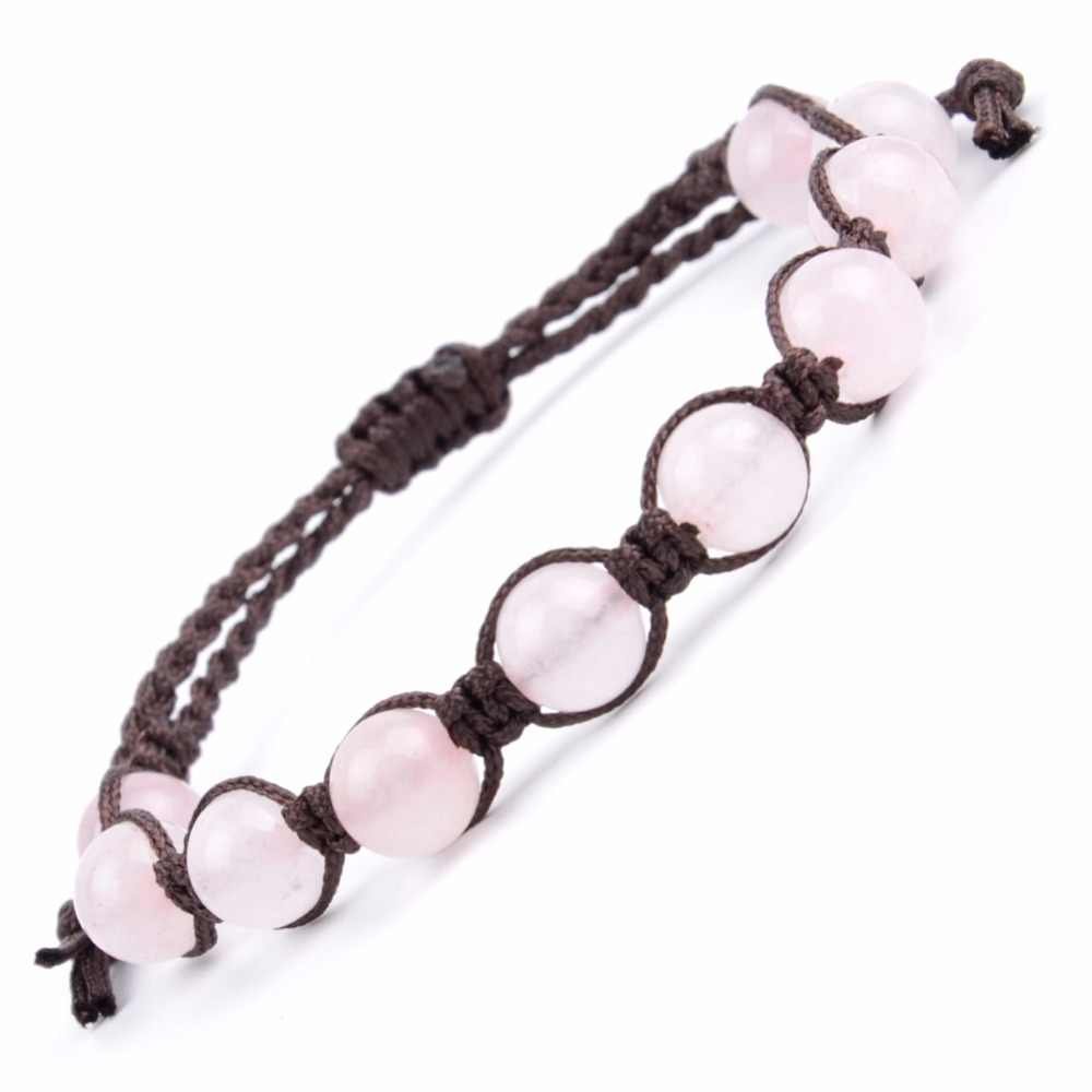 Boho Braided Bracelet For Women Natural Stone Rose Quartzs Beaded Bracelets Men Friendship Weave Jewelry Pulseira Feminina
