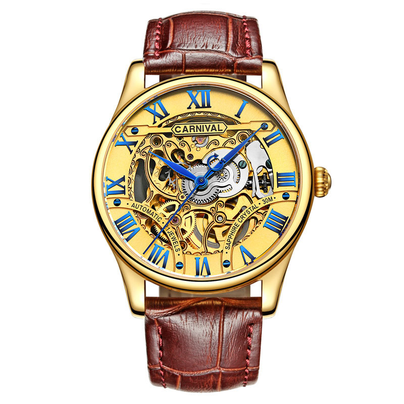 Carnival Top Brand Luxury Automatic Mechanical Watch Men Gold Skeleton Business Leather Waterproof Mens Clock relogio masculino automatic watch men rose gold mens watches top luxury brand read mechanical leather wristwatches skeleton male clock man relogio