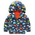2-5yrs Superme Primavera Outono Bonito do Dinossauro Impresso Crianças Encapuzados Blusão De Nylon