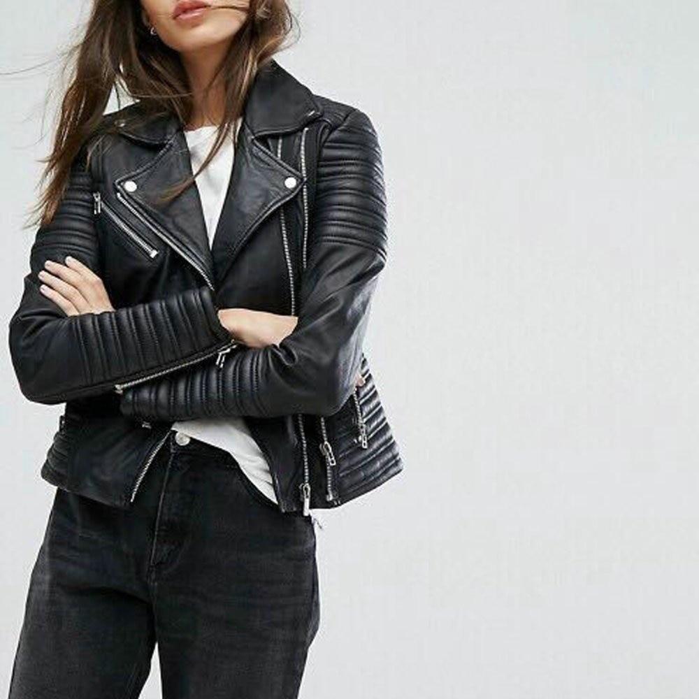 New Arrival 2019 brand Winter Autumn Motorcycle leather jackets black leather jacket women leather coat  slim PU jacket Leather