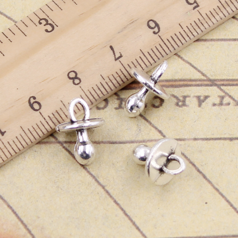 10pcs Charms Baby Pacifier Binky Teether 13x10x10mm Tibetan Silver Plated Pendants Antique Jewelry Making DIY Handmade Craft