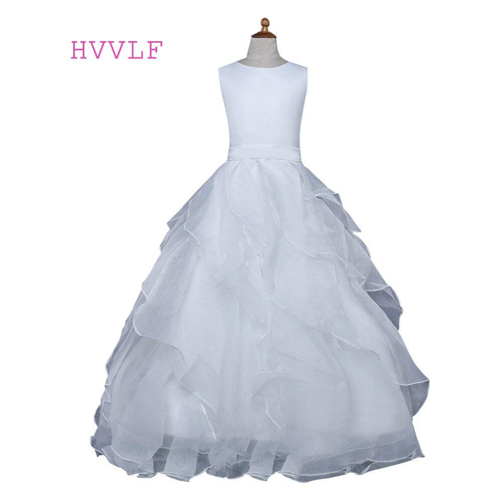 White 2019   Flower     Girl     Dresses   For Weddings Ball Gown Floor Length Ruffles First Communion   Dresses   For Little   Girls