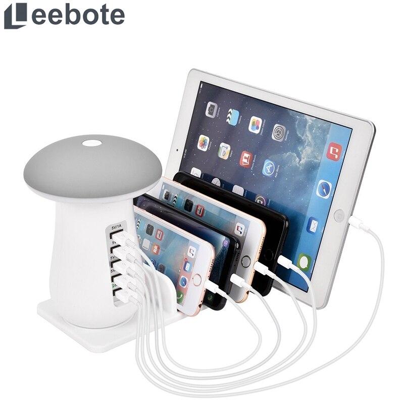 Leebote múltiples USB cargador de teléfono de noche de la lámpara de carga estación-Estación Dock QC 3,0 Cargador rápido para teléfono móvil y tableta