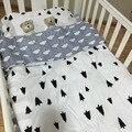 3 pcs Kit de Roupa de cama Jogo de Cama Berço Do Bebê de Algodão Crianças recém-nascidos Lençóis Colcha Fronha Sem Filler Nuvens pinho