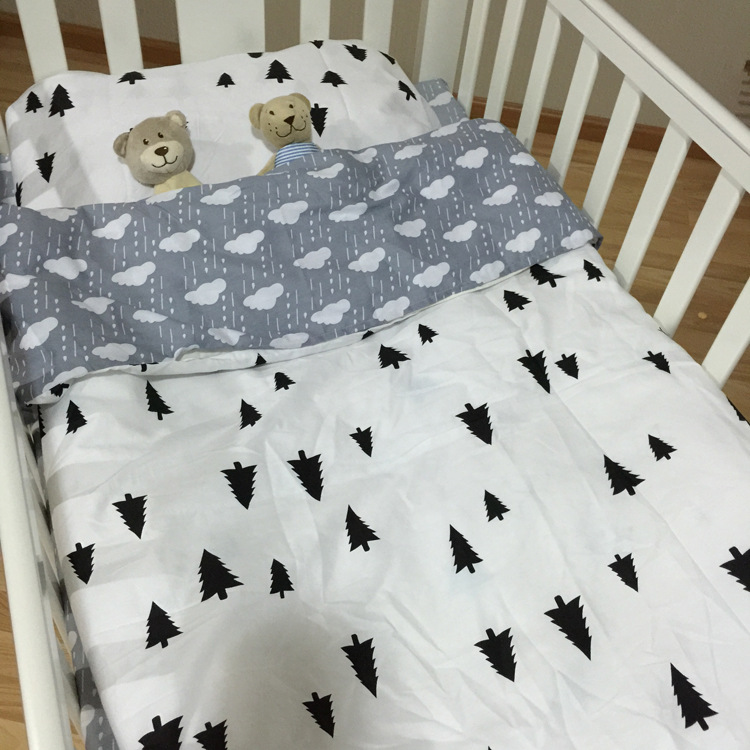 3pcs Baby Bedding Set Crib Bed Linen Kit Kids Cotton Newborn Cama Bed Sheets Quilt Cover Pillow Case Without Filler Clouds Pine