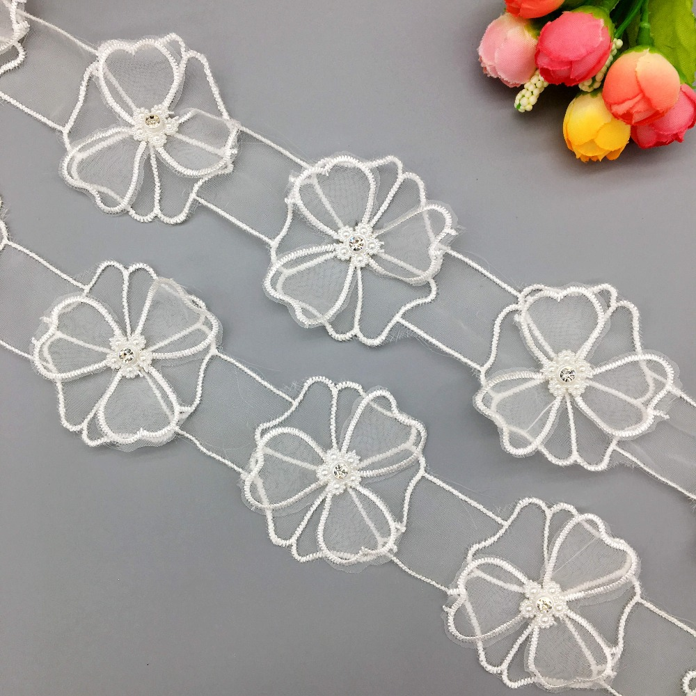 1 yd Flower Butterfly Bow Peacock Lace Trim Ribbon Wedding Applique Sewing Craft