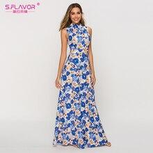 S. Saveur femmes bohème robe dété 2020 mode sans manches coloré impression longue robe Maxi Boho plage Vestidos femme