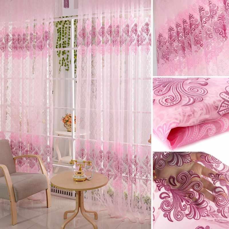 Pink Voile Door Curtain Window Room Drape Divider Totem Floral Sheer Valance Hot Sale