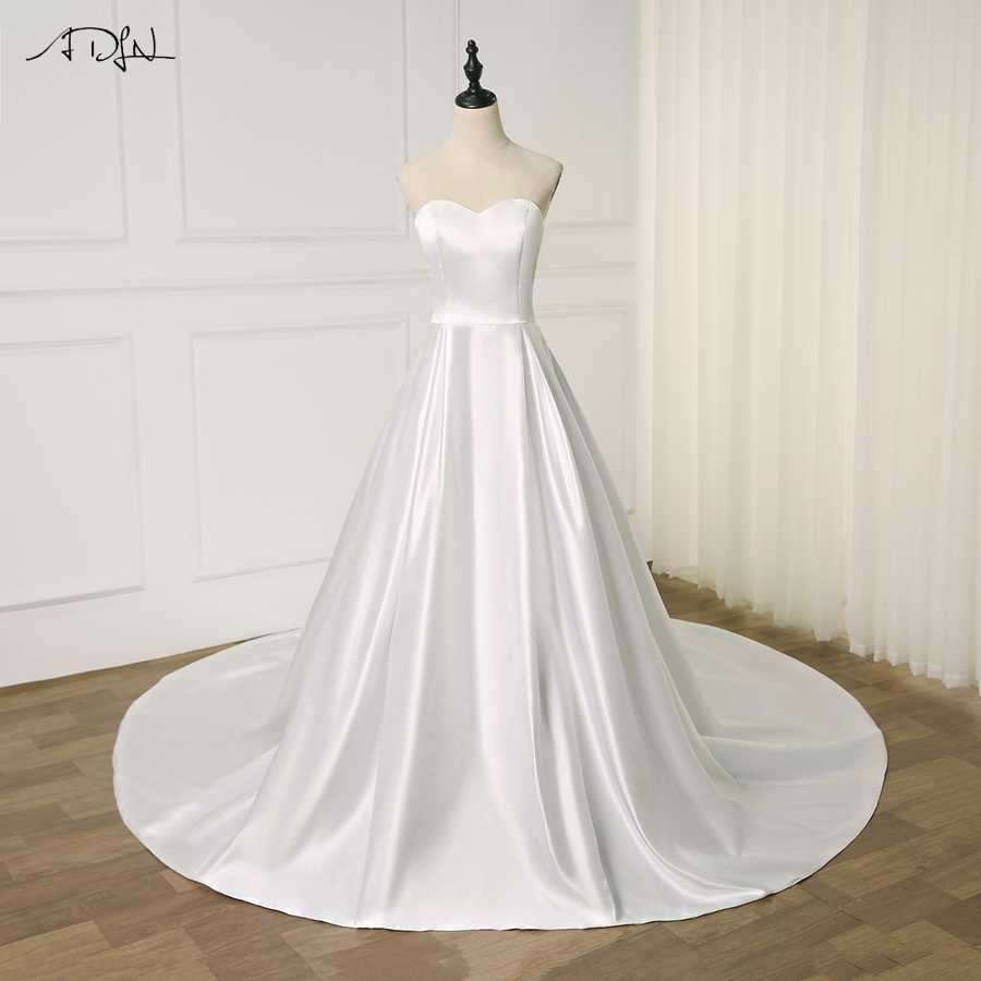 ADLN Elegant Satin Sweetheart Wedding Dress Vestido De Noiva Sleeveless A-line Plain Simple Bridal Gowns Robe De Mariage