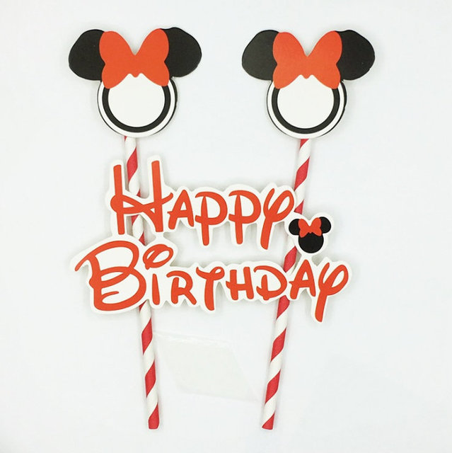 Astonishing Best Promo Gi8Lv 1Set Mickey Minnie Mouse Cake Flags Happy Funny Birthday Cards Online Eattedamsfinfo
