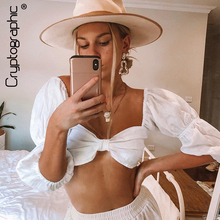 Cryptographic Square Collar Sexy Blouse Summer Backless Crop Tops for Women 2019 Puff Sleeve Wrap Shirts Chic Streetwear