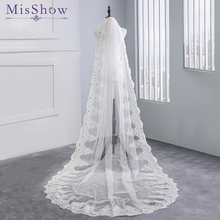 Top Quality Bridal Veil long real photo 3 Meter White Ivory Cathedral Wedding Veils 2019 Luxury Long Lace Edge