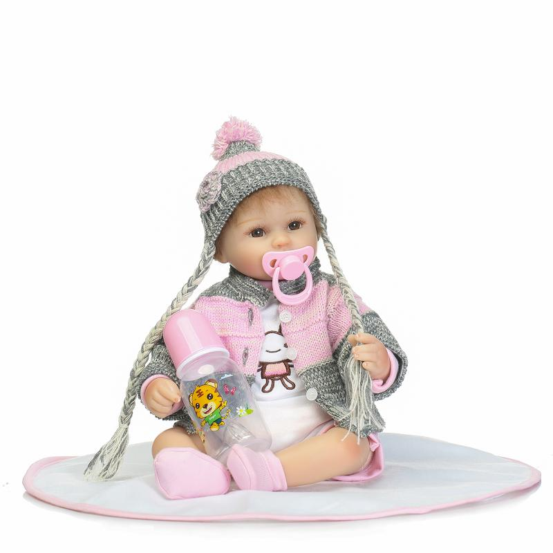 Handmade Reborn Baby Doll 18 Inch 40 cm Soft Silicone Baby Girl Newborn Dolls in Woven Clothes for Children Birthhday Xmas Gift 22inchs soft silicone reborn baby doll handmade clothes little girl doll reborn brinquedos early education reborn baby dolls