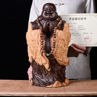 Large GOOD Buddha HOME office Spiritual protection # Bring good luck Handmade Red sandalwood carving Maitreya Buddha statue