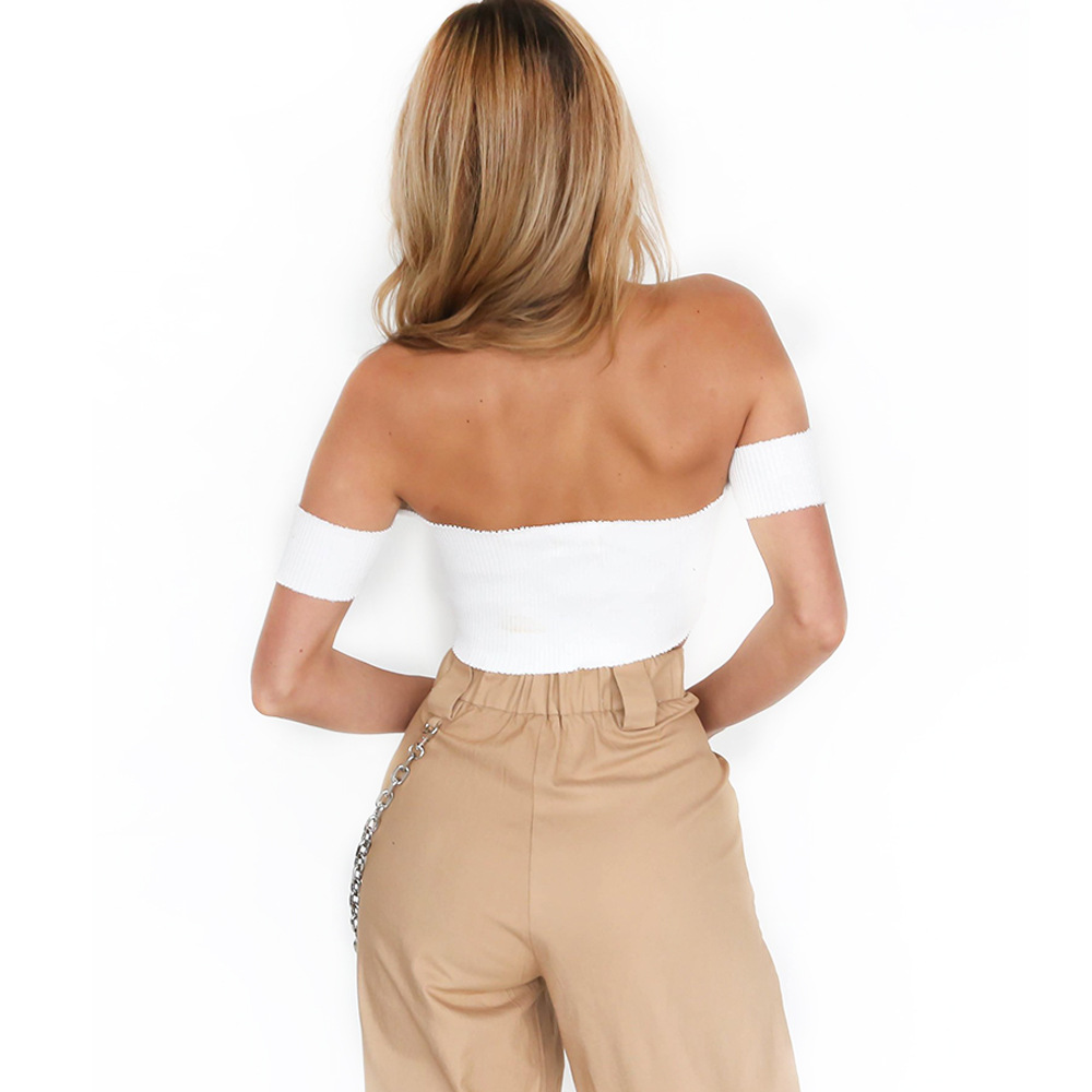 HTB1izlgb3MPMeJjy1Xdq6ysrXXaX - Off Shoulder Crop Top Sexy Slash Neck Women Deep V Party White Top PTC 264