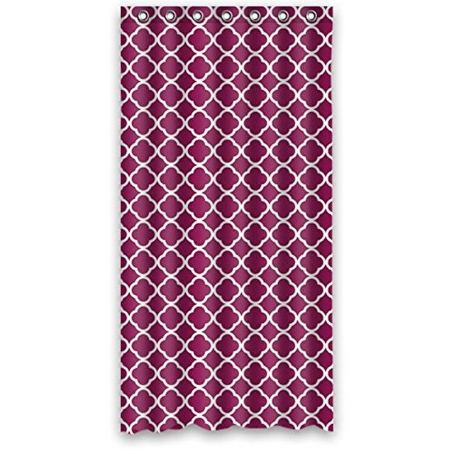 Quatrefoil In Wine Berry Red Raspberry Fusia Fuscia Magenta Waterproof Polyester Fabric Shower Curtain 36wX 72h