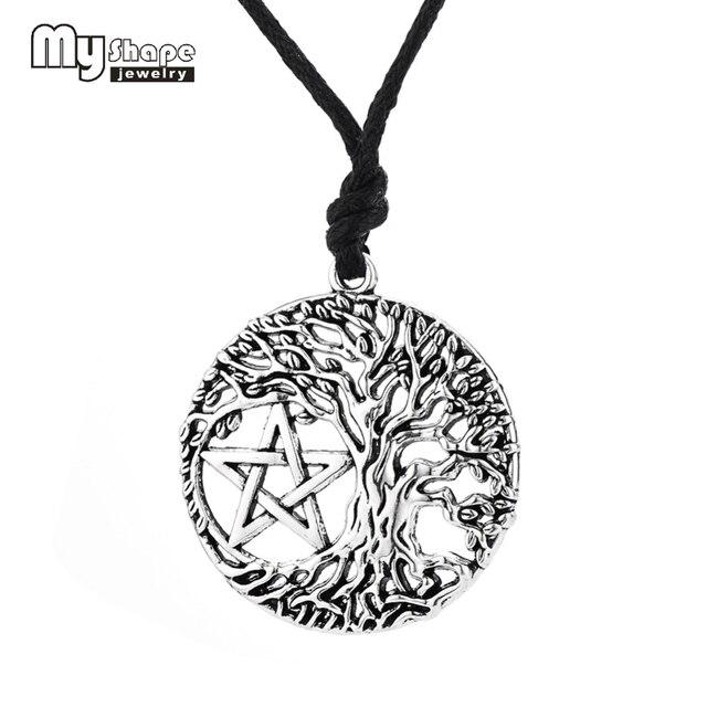 5609203e09a A minha forma de Árvore da Vida Pingente Pentagrama Colar Wicca Pentagrama  Cabala Amuleto Mágico presente