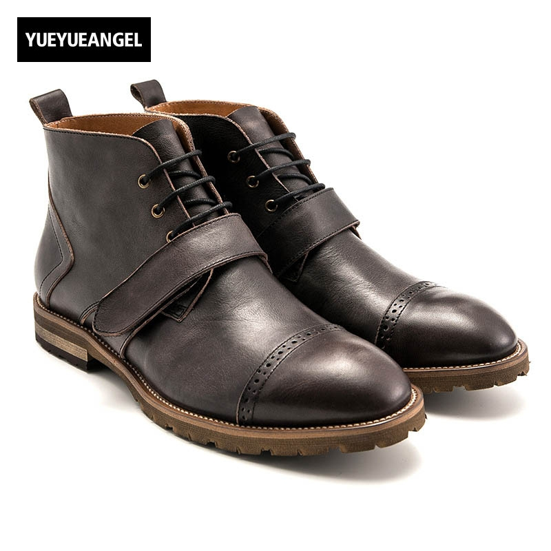Vintage Winter New Fashion Mens Boots Genuine Leather Cow Lace Up Ankle Strap Low Heel Round Toe Motorcycle Biker Plus Size front lace up casual ankle boots autumn vintage brown new booties flat genuine leather suede shoes round toe fall female fashion