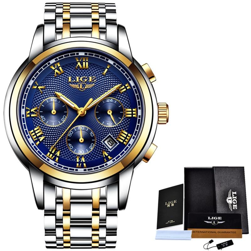 Herenhorloge Top luxe merk LIGE Heren waterdichte quartz horloges - Herenhorloges - Foto 3