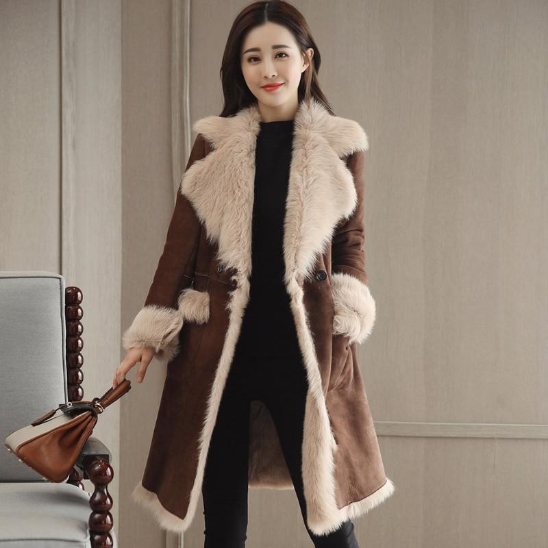 New arrival 2019 Winter Women Faux Fur Sheepskin Coat Female Long Shearling Coats Patchwork Faux   Suede     Leather   Jackets
