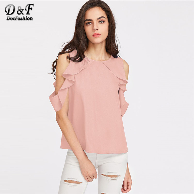 971f985147588 Dotfashion Button Closure Back Drape Ruffle Cold Shoulder Top 2018 Round  Neck Short Sleeve Top Ladies Flounce Sleeve Blouse