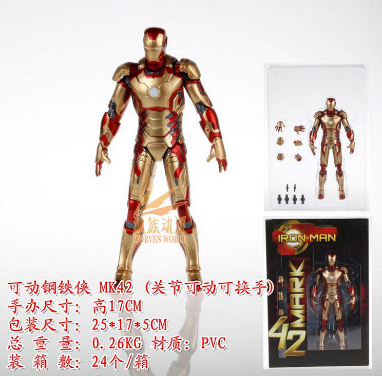 17cm Superhero Mark 42  Iron Man 2 Action Figures PVC brinquedos Collection Figures toys for christmas gift with Retail box iron man action figure mini egg attack light 6pcs set action figures pvc brinquedos collection figures toys for christmas gift