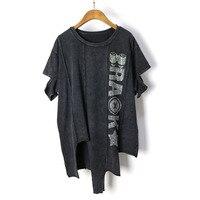Women Punk T Shirts Diamonds Letter Short Sleeve Summer Vintage Cotton Irregular Hem T Shirt Women