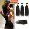 Peruvian Kinky Curly Virgin Hair With Closure Rosa Hair Products 4 Bundles And Lace Closure Peruvian Virgin Hair With Closure
