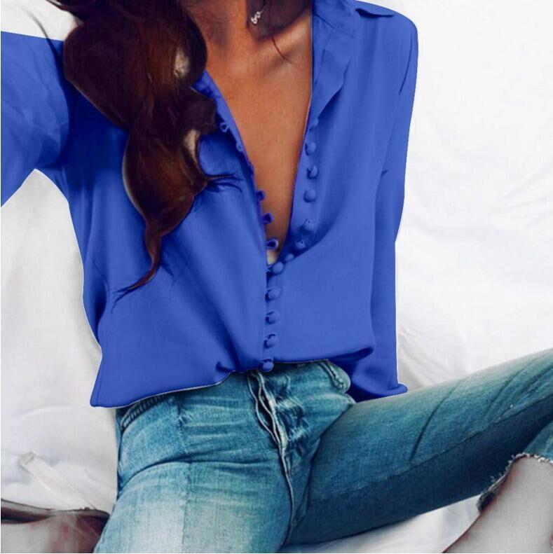 Softu Для женщин Мода Повседневное одноцветное Блузка с длинными рукавами Рубашка с отворотом блузка рубашка Для женщин отложной воротник
