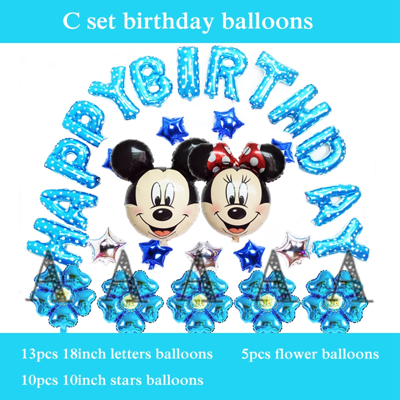 mickey birthday balloons 30pcs/set happy birthday balloon set foil material minn