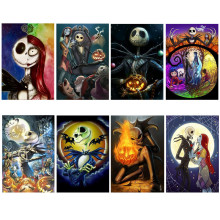 hot deal buy 5d diy diamond painting halloween gift pumpkin head all sticker drill diamond embroidery 5d black cat mosaic witch round diamond
