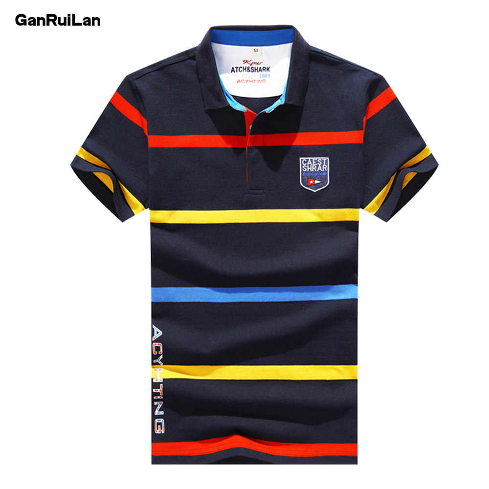 2019 New Summer Tops Polo Shirt Desiger Mens Casual Striped 92% Cotton Short Sleeve Brands High-quality Men Clothing B0400