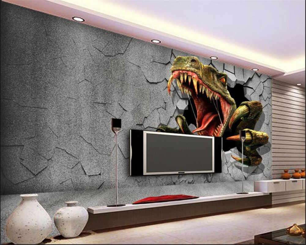 Beibehang Nach Wandbild Tapete Moderne Kinderzimmer 3D Ziegel Wand  Dinosaurier TV Wand Hintergrund tapete für wände 3 d papier peint