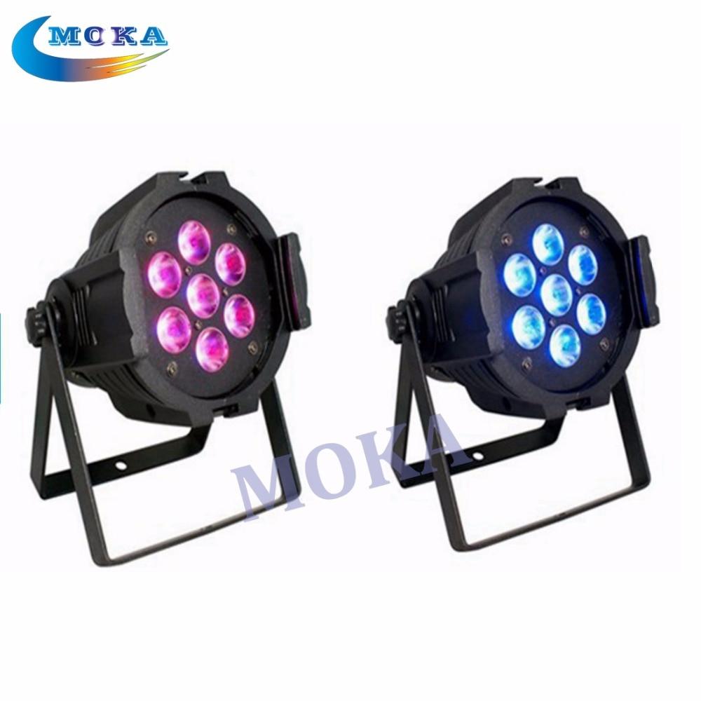 Здесь можно купить  2Pcs/Lot Cheap Price 7*10W 4IN1 Led Par Light 7 Channels Mini Led Par Lighting 7 *10W rgbw mini led flat par light  Свет и освещение