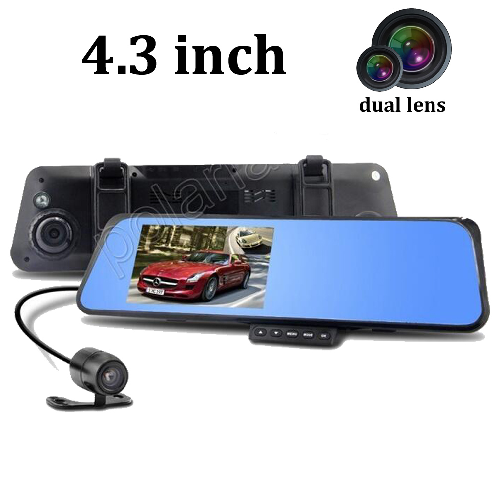 4.3 inch Rearview Mirror G-Senor video Recorder Car DVR Full HD 1080P Dual lens Night Vision 2X140 Degree dash camera 2 7 car dvr dual camera full hd 1080p allwinner car camera recorder front 140 rear 120 degree night vision hdmi g30b