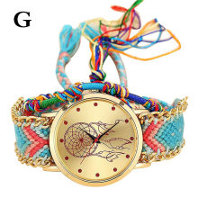Reloj Mujer Handmade Braided Dreamcatcher Friendship Bracelet Watch Ladies Rope Watch Quarzt Watches Relogio Feminino Dropship(China)