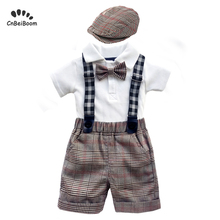Boys 4PC Clothing Set cotton Romper White grid Shorts overalls Baby Suit 0-2 Years Summer Newborn Children Clothes suit boy sets недорго, оригинальная цена