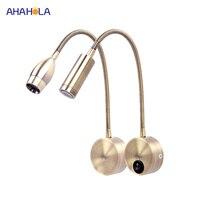 Lámparas Led flexibles para pared, aplique de pared de 3w para lectura, dormitorio, luminaria de pared de 220v de CA