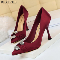 b1566fb451 2019 New Silk Pumps Women Shoes Red Slip On Shallow Wedding Party Pointed  Toe Rhinestone High