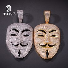 TBTK 2019 The New Mask Face Model Pendant Necklace Subculture Western Hiphop Boy Jewelry Spakling Zircon Gold Beautiful Pendant(China)
