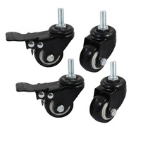 Saim M12 Shopping Cart Wheel Trolley Brake Rotation CASTER Wheel Diameter 4 Pcs Set Furniture Cart Caster 2 with Brake Accessory