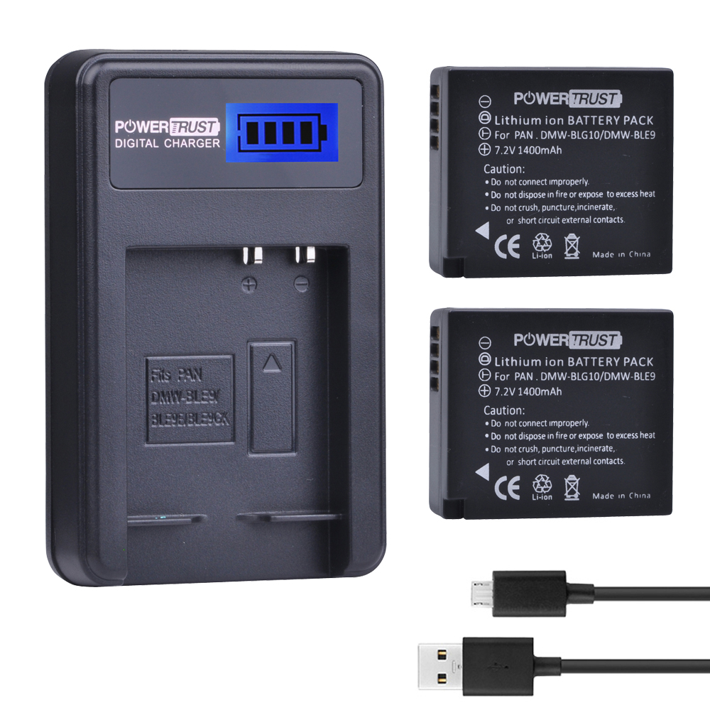 2Pcs DMW-BLG10 DMW BLG10 DMW-BLE9 BLE9 BLE9E Camera Battery+ LCD USB Charger for Panasonic Lumix DMC GF6 GX7 GF3 GF5 GX80 tectra 4pcs dmw blg10 dmw ble9 bp dc15 bateria usb dual charger with ac adaptor for panasonic lumix gf5 gf6 gx7 lx100 gx80