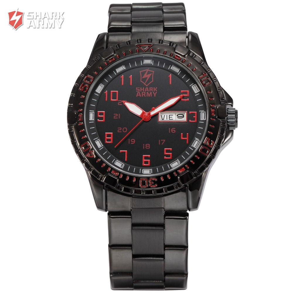 Shark Army ARIES Auto Date Day Calendar Black Red Outdoor