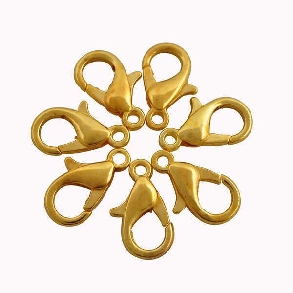 Sprzedaż 12/16/20MM złoty i srebrny kolor stop Lobster zatrzaski haki na naszyjnik i bransoletka łańcuch ocena biżuteria DIY metalowe złącza