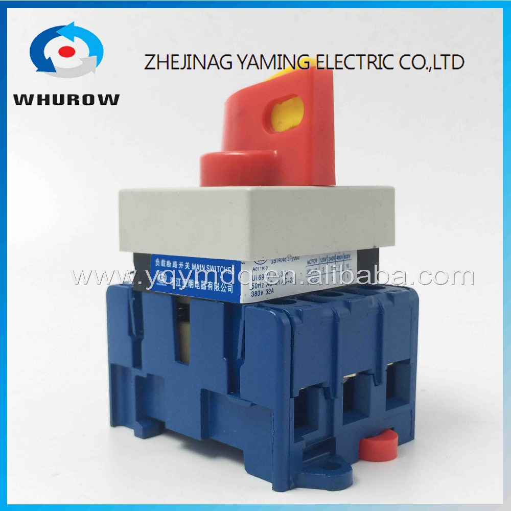 Isolating switch YMD11-32C distribution board switch 3P 32A OFF-ON red handle padlock rotary universal load break switch Factory 660v ui 10a ith 8 terminals rotary cam universal changeover combination switch