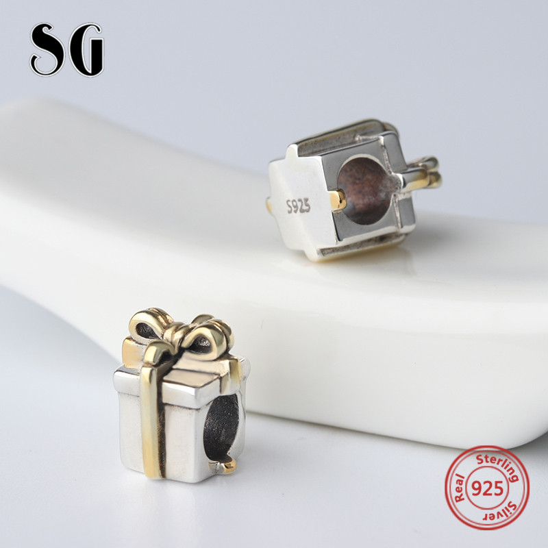 SG Original gift box Charms Beads with golden bow-tie Fit Authentic pandora Bracelets 925 sterling-silver-Jewelry making Gifts