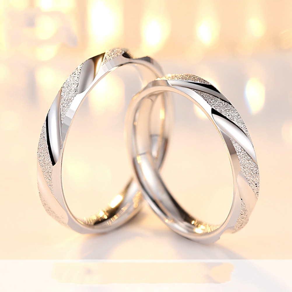 1PCS sterling-silver-jewelry Couple Ring Real Pure Sterling Silver 925 Jewelry Fashion Simple Style Lovers Rings For Women / Men punk style pure color hollow out ring for women