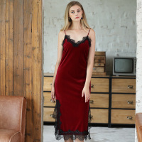 Women Night Dress Spaghetti Strap Sleepwear Sexy Bedgown Sleeveless Nightgowns Long Lace Side Sling Split