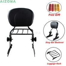 Black Detachable Sissy Bar Luggage Rack Backrest w/ Passenger Pad for Harley Softail Fat Boy FLSTF Springer Standard 2006-18 19
