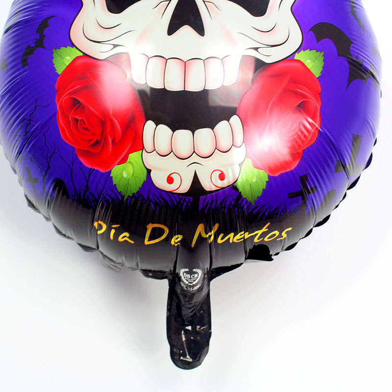 NEW 18 inch 100pcs Happy Halloween Skull rose rudder foil balloons Skeleton globos Halloween decorations Halloween party toys